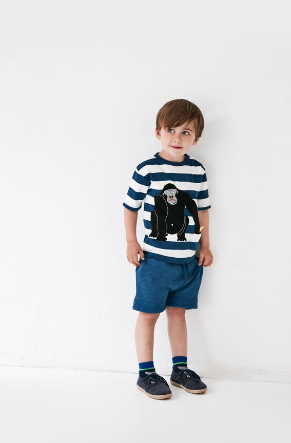 Sassy Gorilla tee, Blue white stripe - STOCK SALE