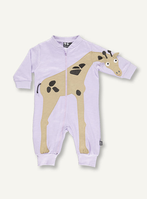 UBANG long-sleeved onesie with a giraffe on the front. It has a long zipper.