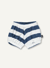 Load image into Gallery viewer, UBANG baby bloomers in white and blue stripes. It has elastic at the waist and legs.