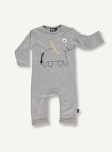 Load image into Gallery viewer, UBANG long-sleeved bodystocking for babies. The design features and elephant on the stomach, and the trunk of the elephant continues down one of the arms