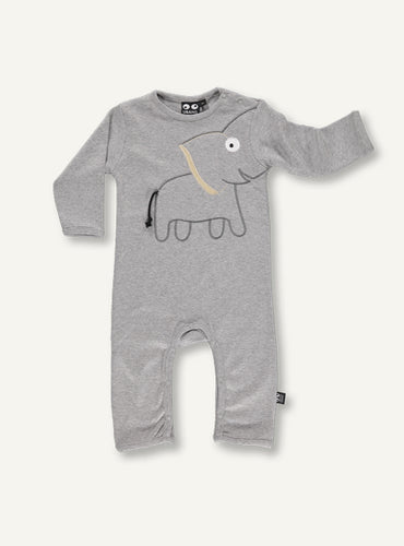 UBANG long-sleeved bodystocking for babies. The design features and elephant on the stomach, and the trunk of the elephant continues down one of the arms