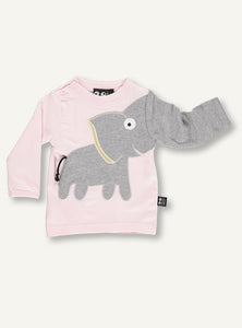 UBANG long-sleeved elephant t-shirt for babies. The t-shirt is a light pink with and elephant on the front and press studs at the neck.