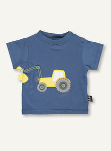UBANG baby t-shirt with short sleeves. It is a dark blue colour with a yellow tractor on the front.