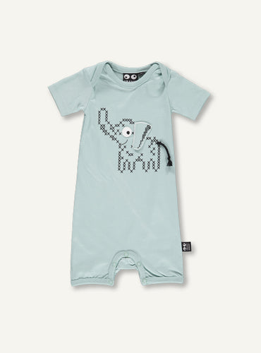 UBANG baby blue onesie. It has short sleeves and an elephant on the front.