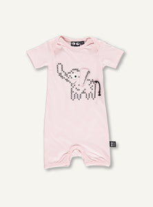 UBANG pink baby onesie with an elephant on the front. The ears and tail is stitched on.