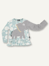 Load image into Gallery viewer, UBANG Elephant long-sleeved t-shirt with frills at the bottom. The t-shirt is blue with white polka dots and has an elephant on the front.