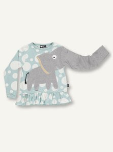 UBANG Elephant long-sleeved t-shirt with frills at the bottom. The t-shirt is blue with white polka dots and has an elephant on the front.