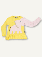 Load image into Gallery viewer, Elephant Frill Tee -  yellow/pink - SAMPLE SALE 4 YR
