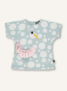 UBANG blue blouse with a bird made in frill and embroidery. It is short-sleeved and has small white polka dots.