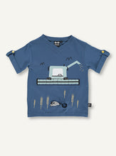 Load image into Gallery viewer, UBANG short-sleeved t-shirt in blue with a harvester machine on the front.