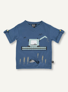 UBANG short-sleeved t-shirt in blue with a harvester machine on the front.