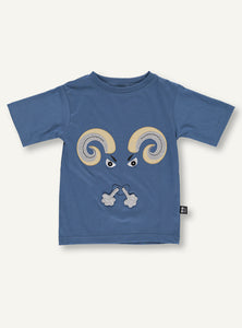 UBANG short sleeved t-shirt in blue. It has a ram on the front of the t-shirt.
