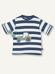 Ubang short sleeved t-shirt with blue and white stripes. It has a green tractor on the front.
