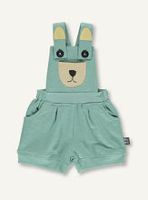 Load image into Gallery viewer, UBANG overalls in moss green. They are short an have a embroided bear at the front.