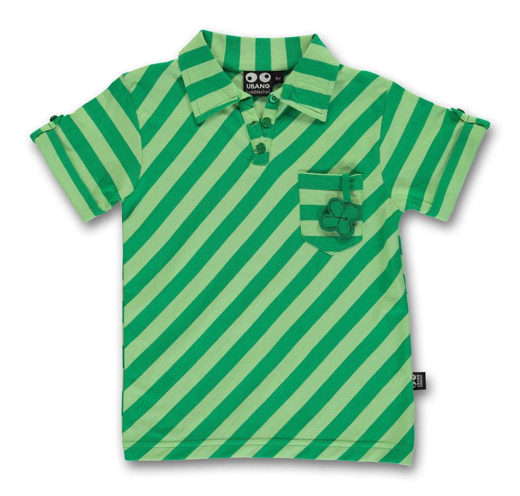 Good luck Tee - green stripe STOCK SALE