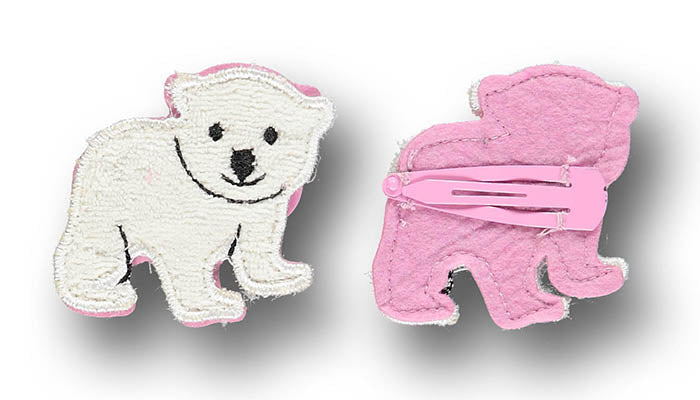 Polar bear hair clip - STOCK SALE