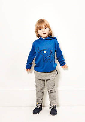 Hooded elephant tee blue - STOCK SALE