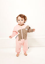 Load image into Gallery viewer, UBANG quilted elephant suit in light pink with long sleeves. It has a brown/grey elephant on the front and a long zipper.