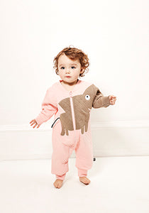 UBANG quilted elephant suit in light pink with long sleeves. It has a brown/grey elephant on the front and a long zipper.