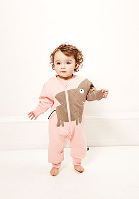 Elephant quilt suit light pink STOCK SALE