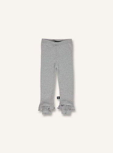 UBANG grey leggings with frills at the bottom of the legs.