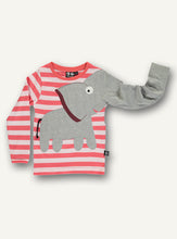 Load image into Gallery viewer, Elephant Tee - red stripe - STOCK SALE