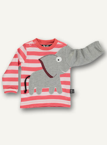Baby Elephant Tee Light Pink & Red -STOCK SALE