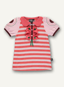 UBANG pink and red stripes t-shirt with short sleeves. It has a cute ladybird collar and butterfly dot appliqué