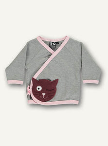 UBANG wrap around sweat for girls. It is grey with pink details and a cat embroidered at the bottom.