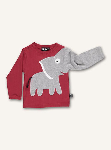 UBANG t-shirt with long sleeves in red. It has the classic elephant moth on the stomach where the trunk continues down on arm. It has press studs at the neck.
