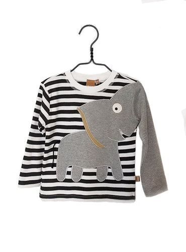 UBANG long-sleeved elephant t-shirt in black and white stripes. It has a grey elephant on the front, where the trunk turns into one of the sleeves.
