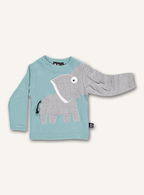 UBANG baby t-shirt with long sleeves in a light blue colour. The t-shirt features and elephant on the stomach and its trunk continues down one sleeve.