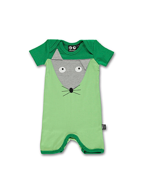 UBANG short-sleeved onesie in green. It has a mouse appliqué on the front.