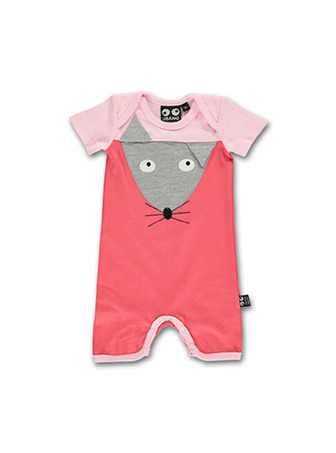 UBANG short-sleeved baby onesie in pink and red. It has a mouse appliqué in grey on the front of the onesie.