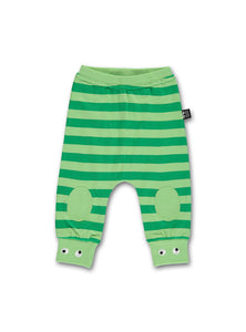 UBANG baby pants with green stripes. It has padding on the knees and smal embroidered eyes at the bottom of the pant leg.