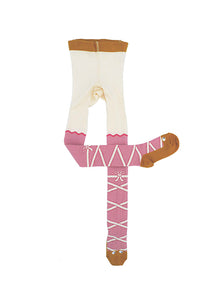 UBANG ballerina tights in an off white/rose combo.