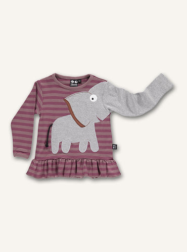 Elephant Frill Tee - Woodrose Stripes