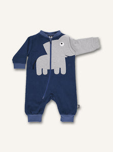 UBANG romper in darkblue with an elephant motif. The design is placed on the stomach and the trunk continues down one arm. The Romper has a long zipper on the front.