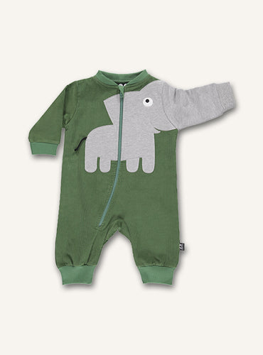 UBANG Romper in a green colour with an elephant on the stomach. The trunk continues down on arm. The romper features a long zipper on the front.