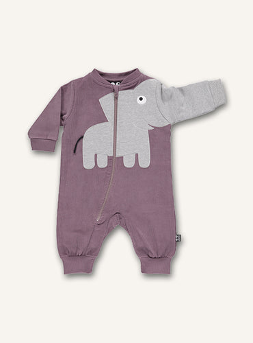 UBANG romper with long sleeves and a cute elephant design. The romper is a dusty rose colour and has an elephant on the stomach where the trunk continues as one of the sleeves.