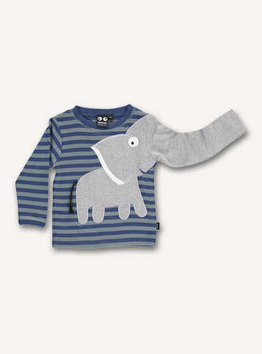 UBANG long-sleeved elephant t-shirt with blue stripes. It has a grey elephant on the front, where on sleeve turns into the elephants trunk.