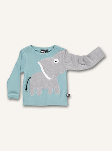 UBANG long-sleeved elephant t-shirt in the colour porcelain, which is a light blue hue. It has a grey elephant on the front and the trunk turns into one of the sleeves.