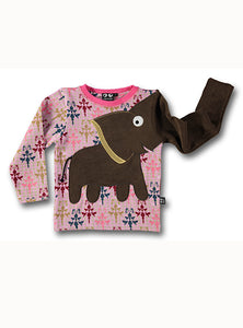 Elephant t-shirt - pink print STOCKSALE