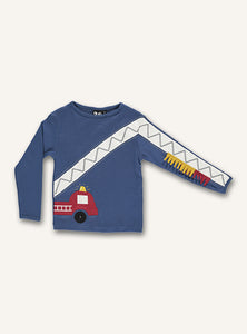 UBANG dark blue, long-sleeved t-shirt with a firetruck on the front. The firetrucks ladder continues down on of the arms.