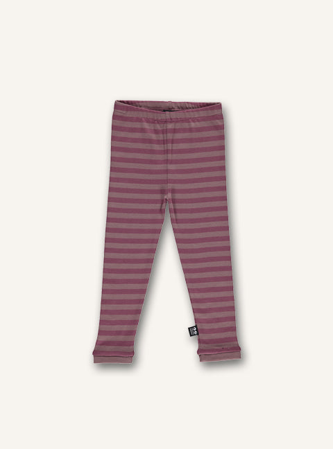 UBANG leggings in woodrose stripes.