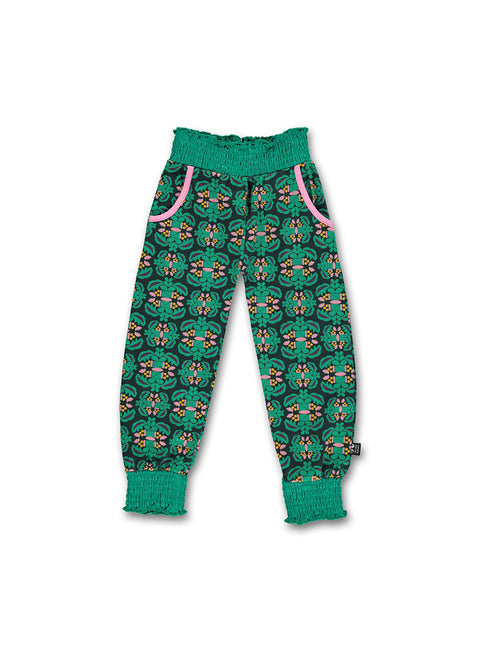 Girls pants with emeral print - STOCK SALE