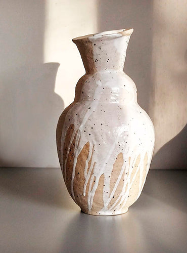Handbuild vase with white splash