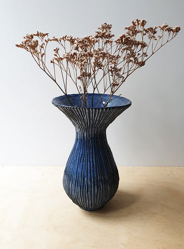 Tall hand built blue vase - SOLD