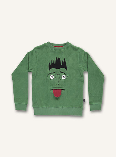 UBANG long-sleeved sweatshirt with a funny face on the front.
