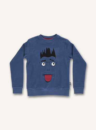 UBANG dark blue sweatshirt with long-sleeves. It has the outline of a face on the front.